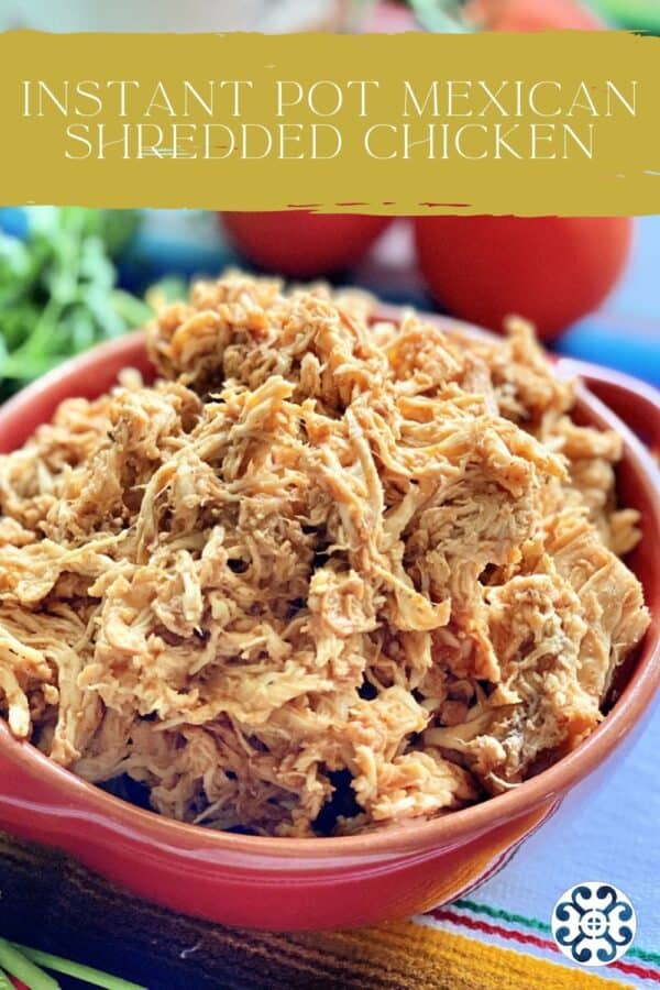 Shredded chicken in a red bowl with text on image for Pinterest.