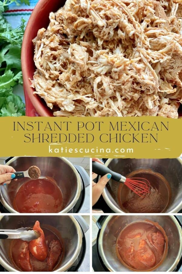 Five photos: top of shredded chicken and bottom of the process of making the chicken.