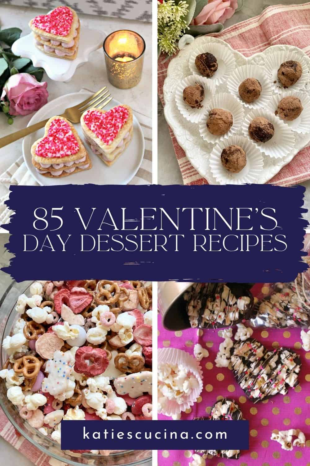 Four photo collage of heart shaped desserts with text on image for Pinterest.