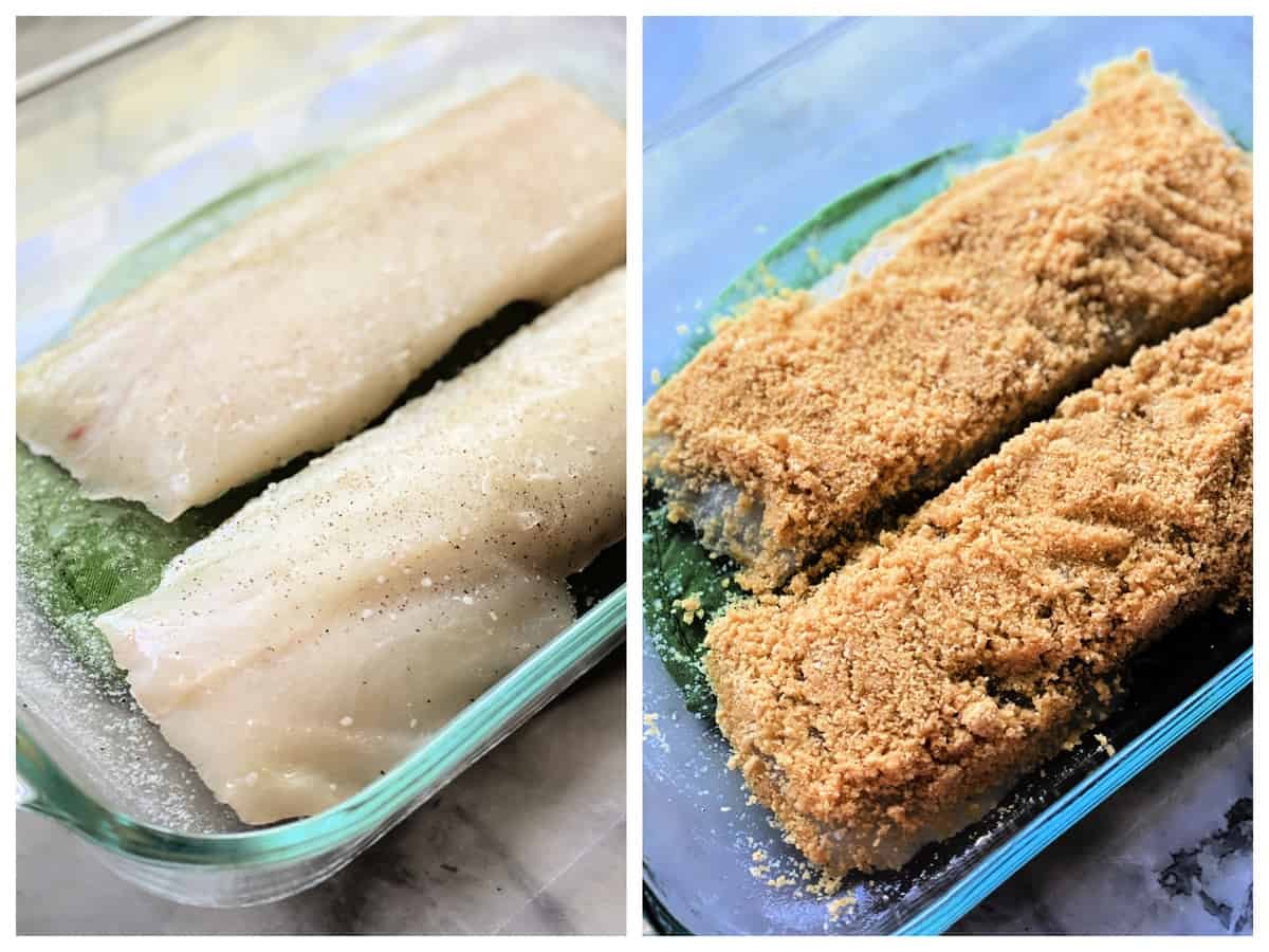 Two photos; left of raw cod, right of cracker crust on raw cod.