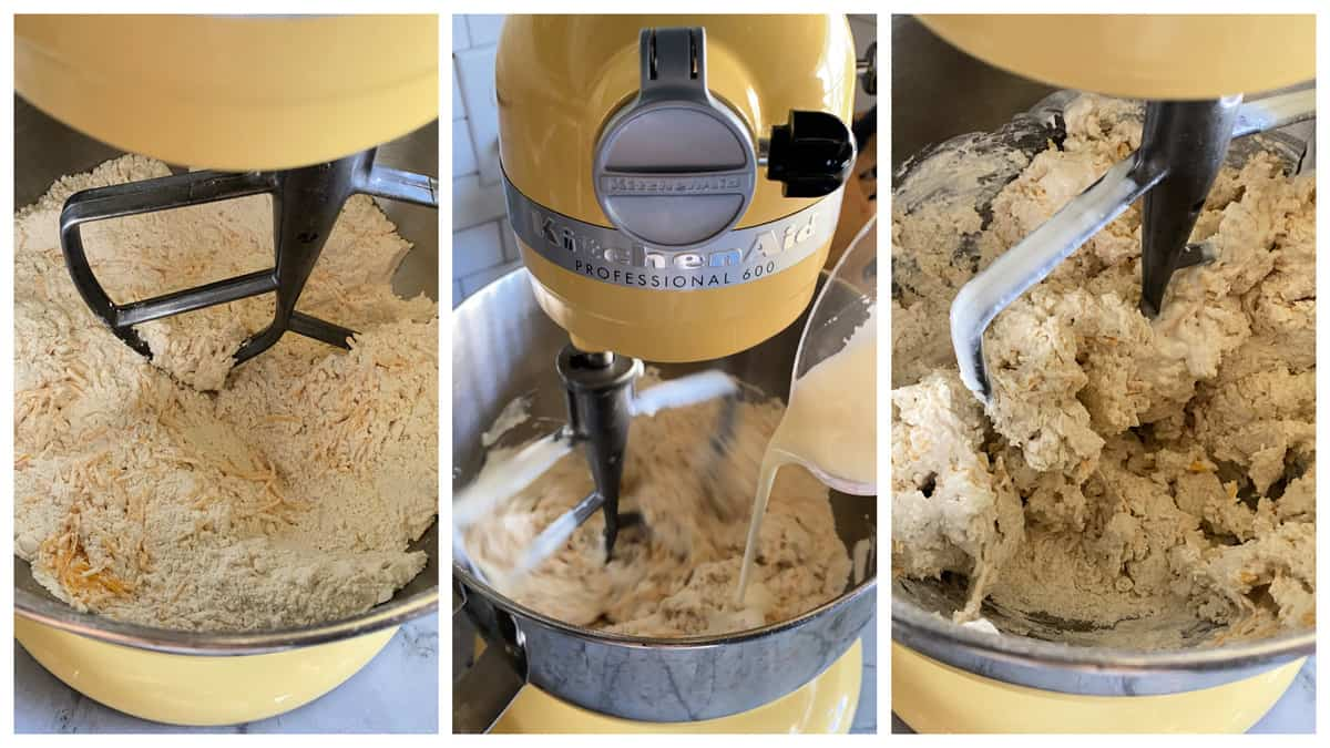 Three photos of the process of making no yeast bread dought in a yellow KitchenAid stand mixer.