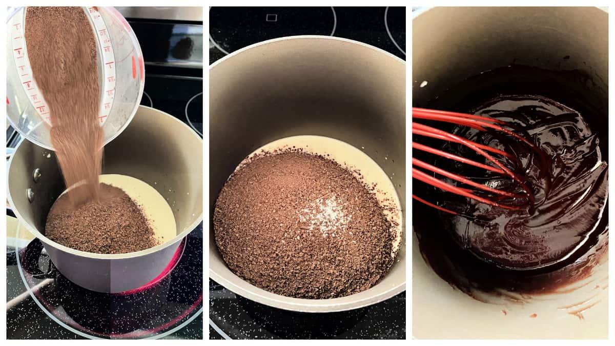 Three photo process of making chocolate ganache on the stovetop.