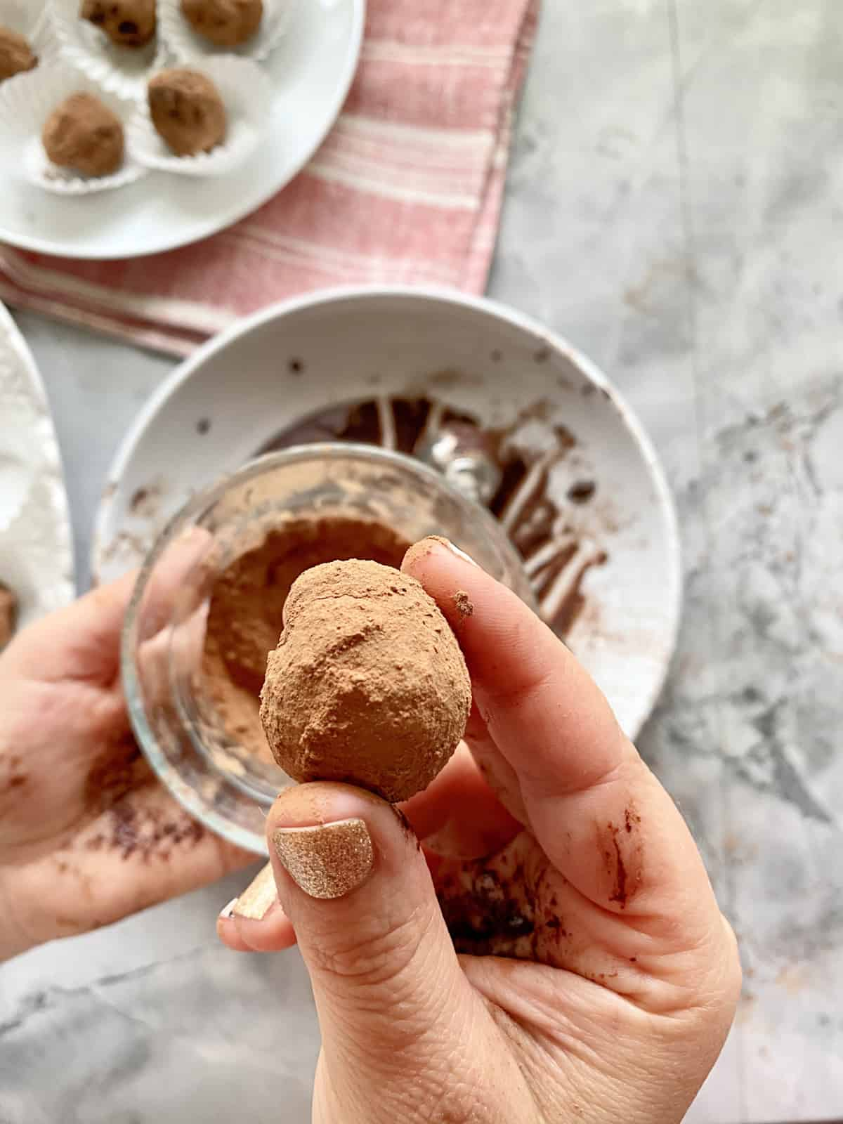 Female hand holding a cocoa powder dusted chocolate truffle.