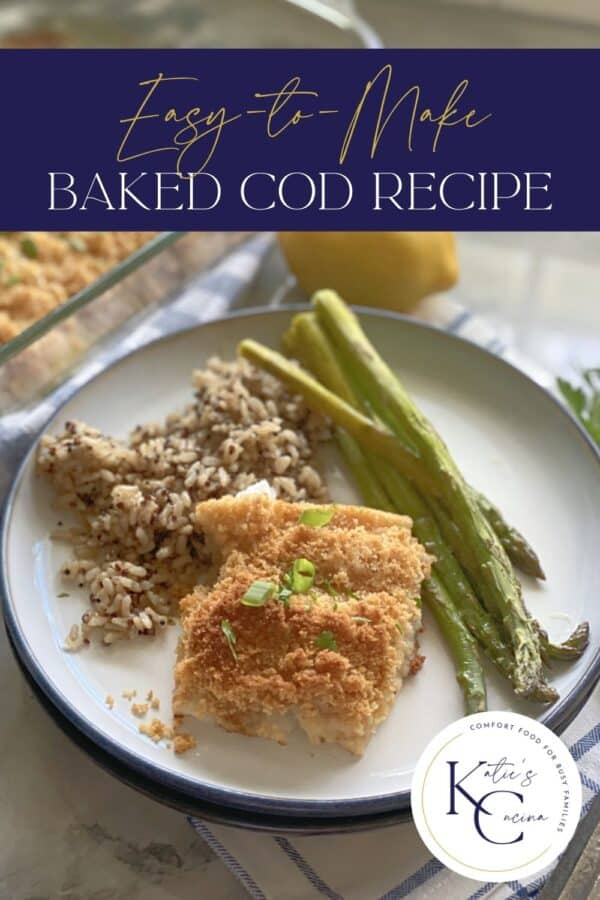 White plate filled with fish, rice, and asparagus with text on image for Pinterest.