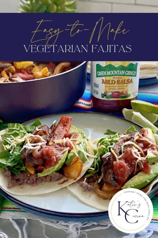 Tacos on a plate with salsa in the background with text on image for Pinterest.