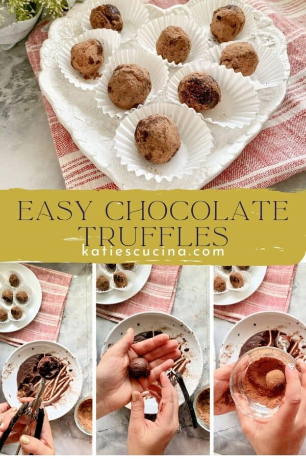 Four photos of truffles being made plus final photo split by text on image for Pinterest.