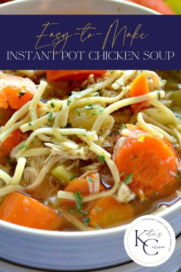 Close up of a white bowl filled with chicken noodle soup with text on image for Pinterest.