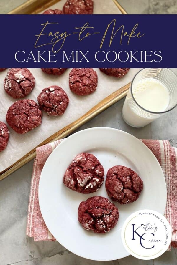 Top view of red cookies on a plate and baking sheet with text on image for Pinterest.