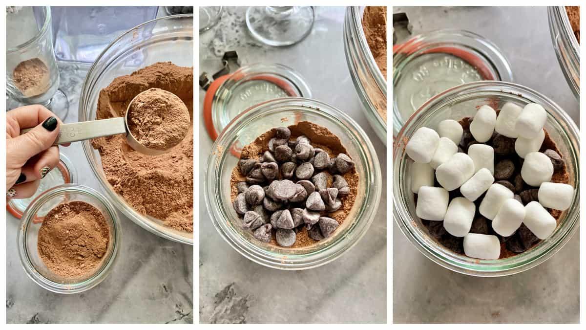 Three process steps filling hot cocoa mix into mason jars.