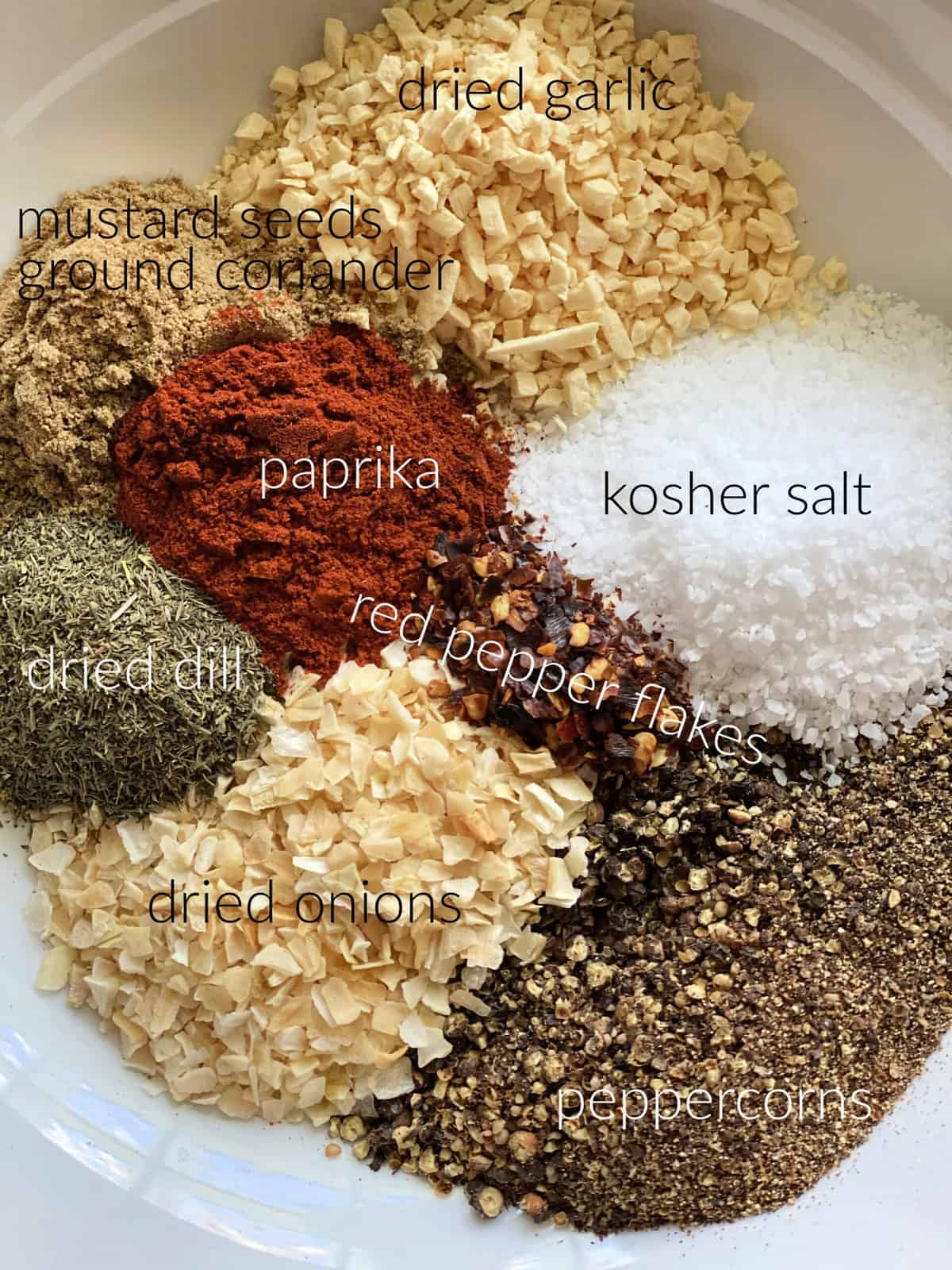 Spices in a dish; paprika, salt, pepper, red pepper, dried onions, dill, mustard seeds, coriander, and dried garlic.