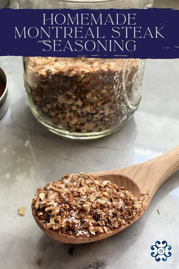 Wooden spoon filled with spices and a jar next to it with text on image for Pinterest.