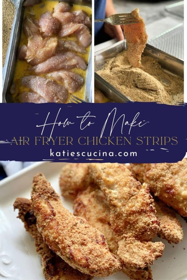 Three photos; top two of breading process of chicken, bottom of baked chicken strips split by text in middle of image.