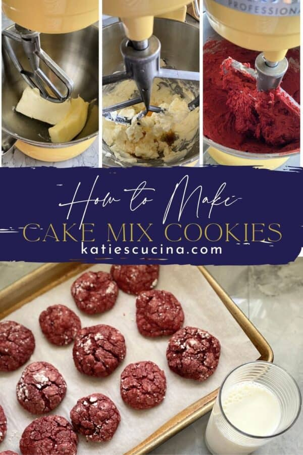 Thre photos on top showing process of making cookies divided by text and bottom of a baking sheet filled with red cookies.