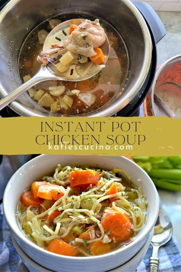 Two photos split by text; top of a spoon holding a cooked chicken drumstick, bottom of a bowl of noodle and vegetable soup.