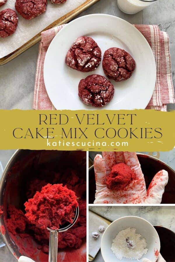 Four photos of red cookies being made split by text on image.