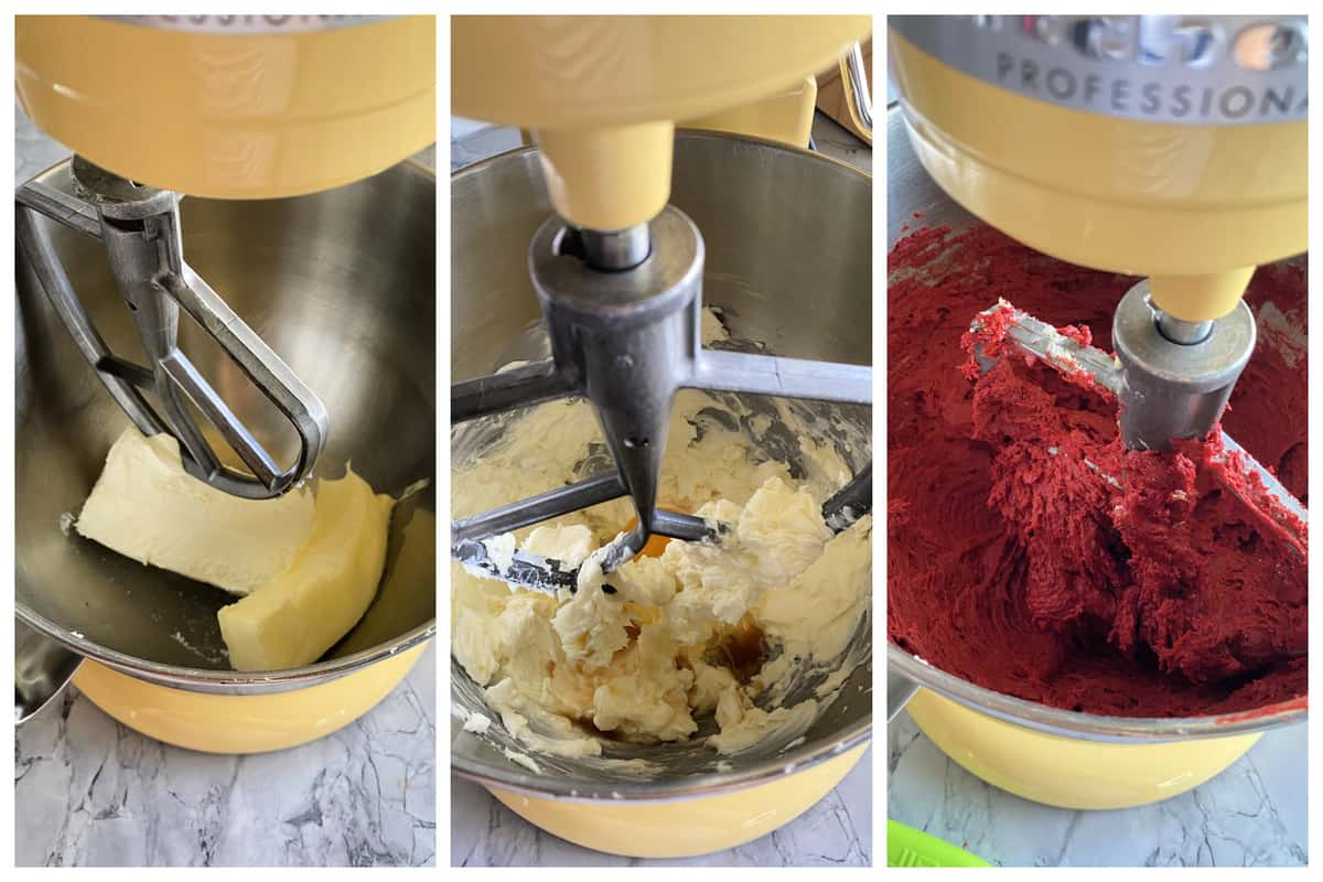 Three photos of process of making red velvet cookies.