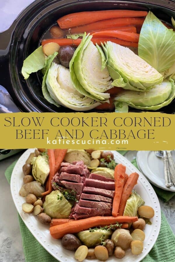 Two photos split by text; top of a slow cooker filled bottom of a platter filled with cooked meat and vegetables.