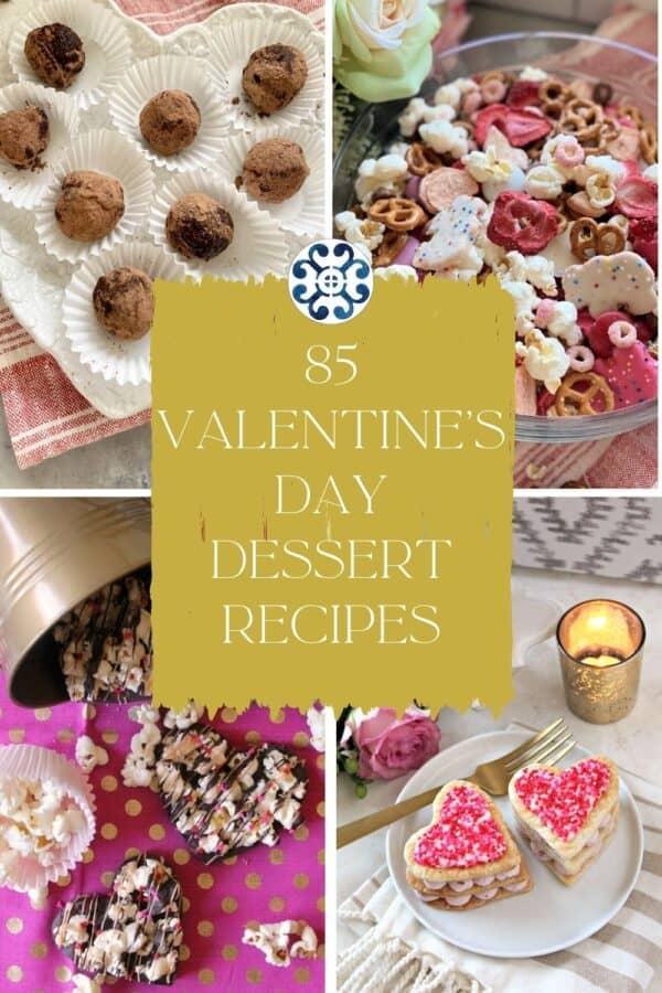 Four photo collage of red, white, and pink heart shaped desserts with text on image for Pinterest.