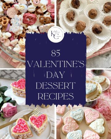 Four photo collage of pink and white heart shaped desserts with text on image for Pinterest.