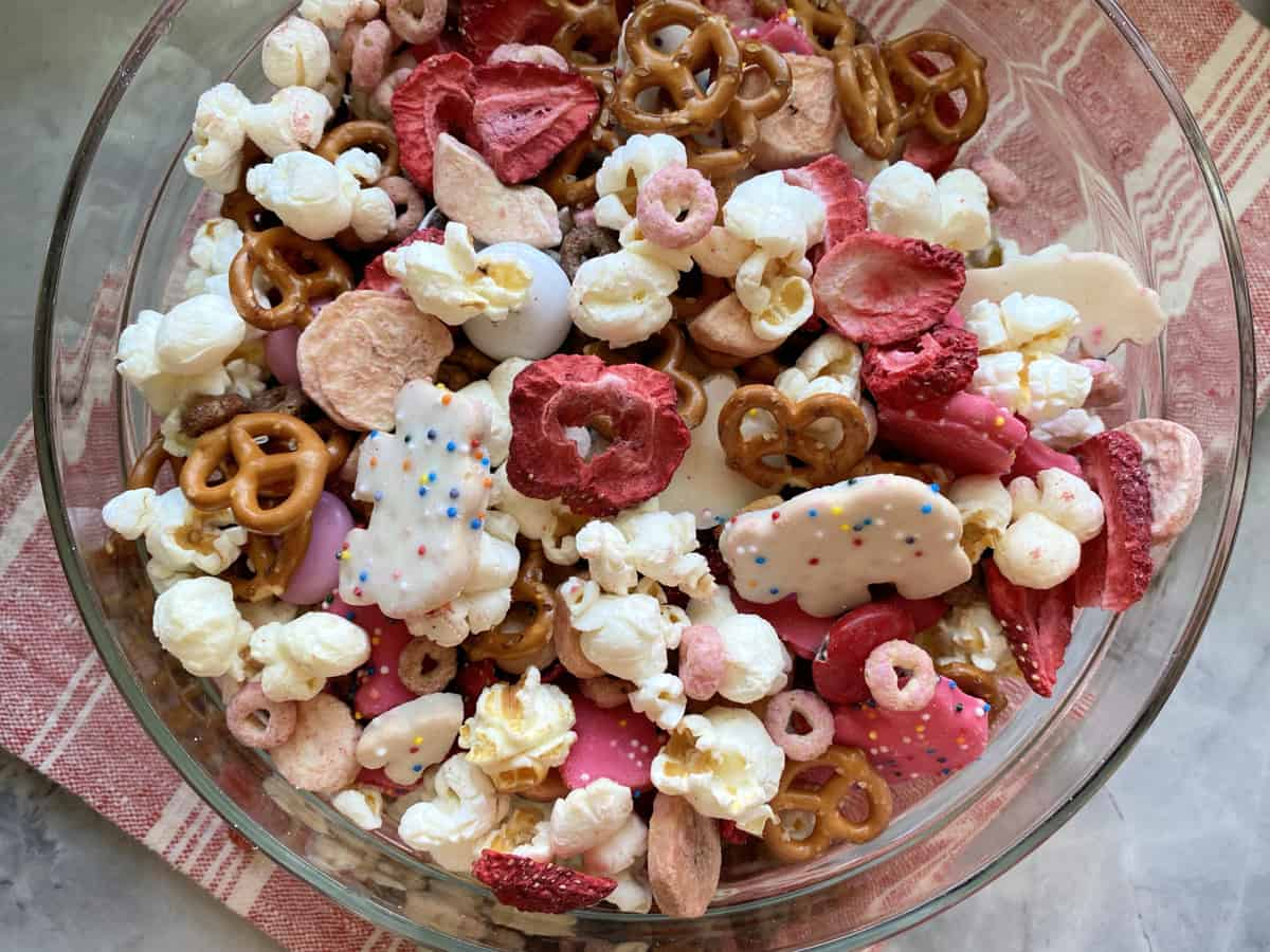 Top view of a bowl of pretzels, popcorn, and animal cookies.