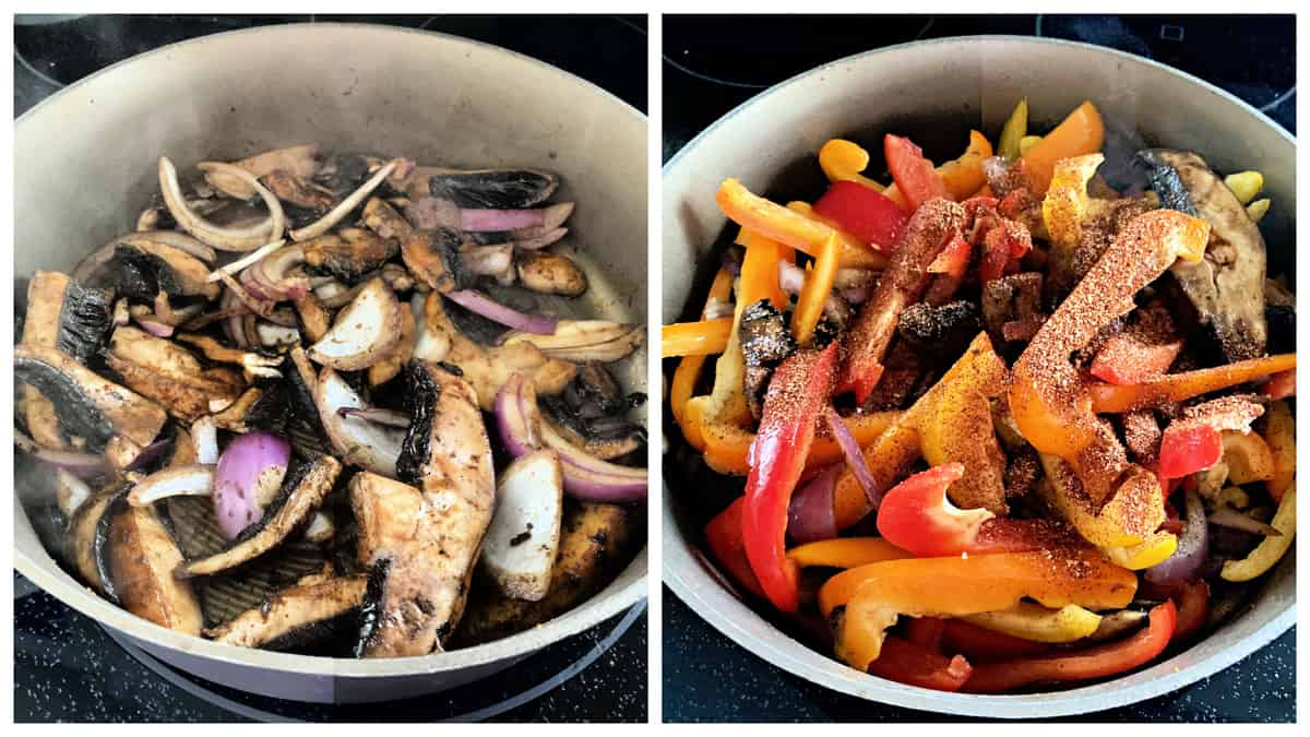 Two photos of a skillet with mushrooms, onions, and bell peppers.