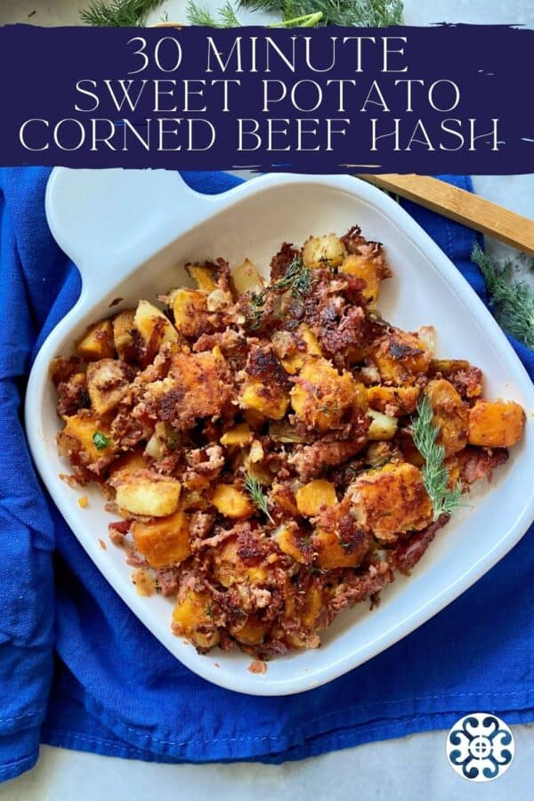 Top view of a white square plate of Sweet Potato Corned Beef Hash with text on image for Pinterest.