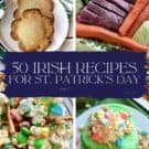Four photos of irish recipes with text on image for Pinterest.