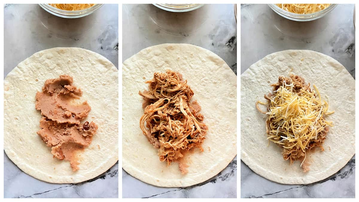 Three step process showing how to place filling in a Chicken Chimichanga.