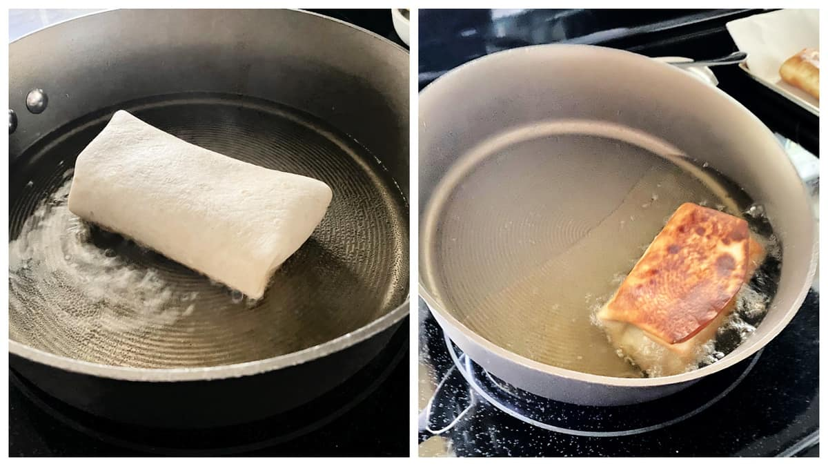 Two photos of a frying pan filled with oil with a burrito frying in it.