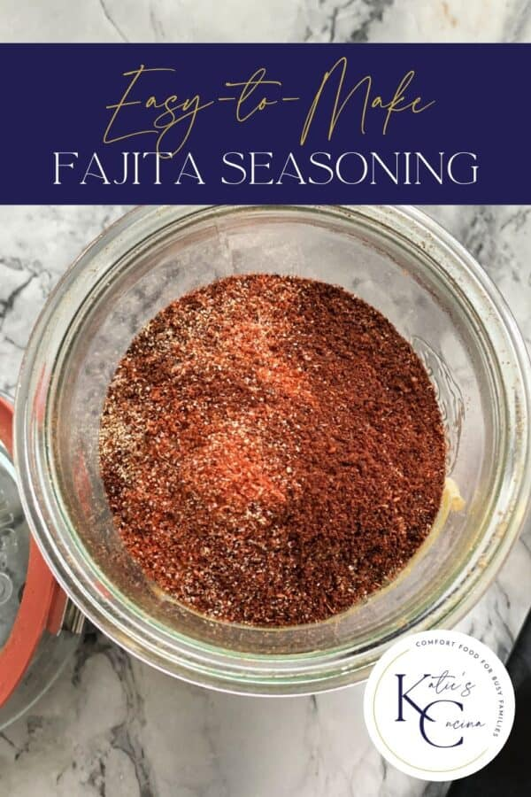 Top view of orange seasonings with text on image for Pinterest.