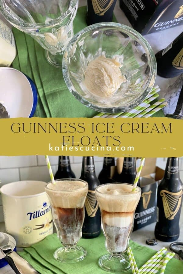 Two photos split by text; top of ice cream in glasses, bottom of beer floats.
