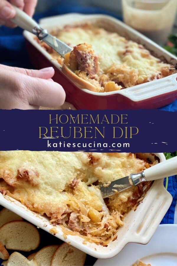 Two photos of baked dip divided between text on image for Pinterest.