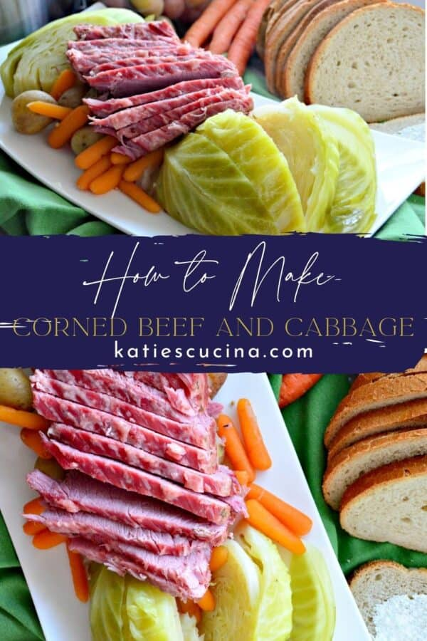 Two photos split by text, both photos show different angles of corned beef and cabbage on a platter.