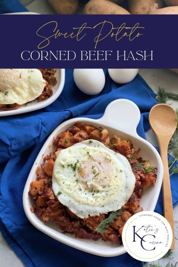 Top view of a square plate with Sweet Potato Corned Beef Hash and egg with text on image for Pinterest.