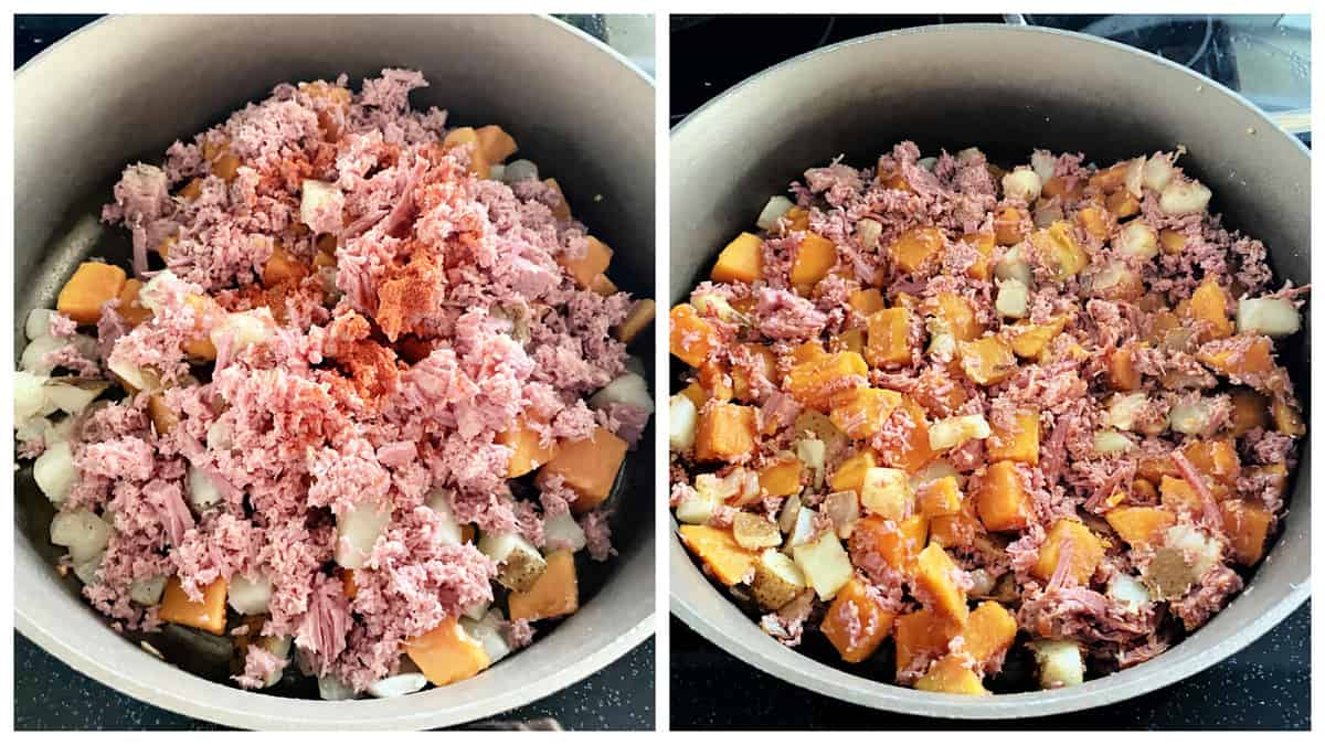 Two photos: left corned beef ingredients in the pan, right mixed and smashed together.