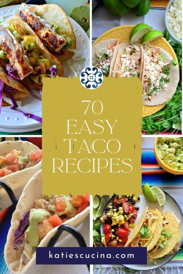 Four different taco photos with recipe title text on image.