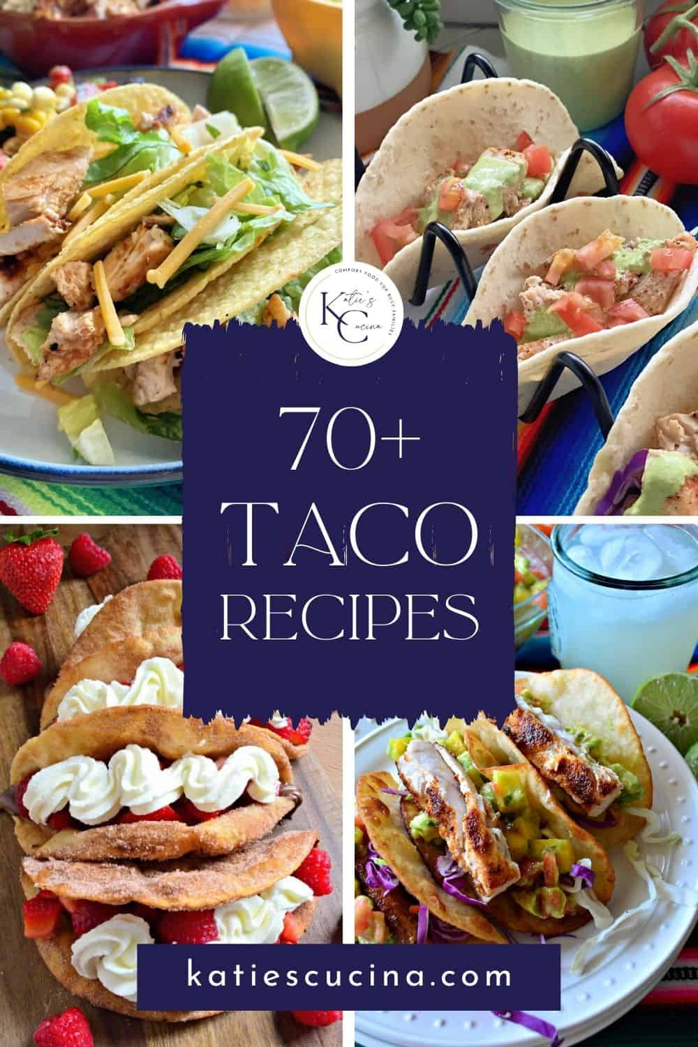 Four vertical photos of tacos on plates with recipe title text on image.