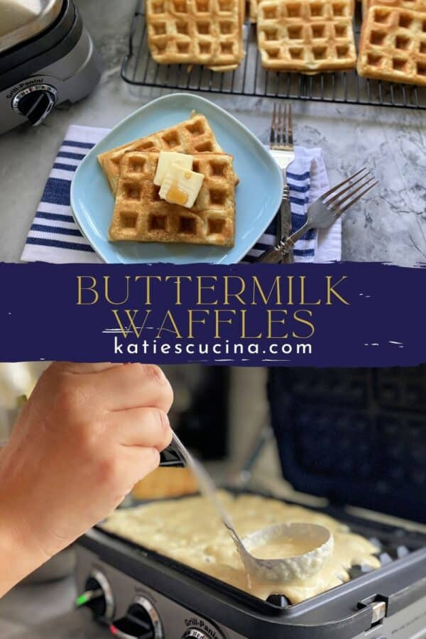 Two photos of waffles split by with recipe name on image for Pinterest.