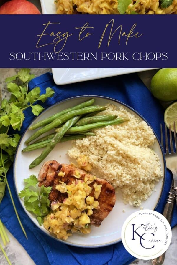 Top view of a plate with a grilled pork chop, fruit salsa, couscous, and green beans with text on image for Pinterest.
