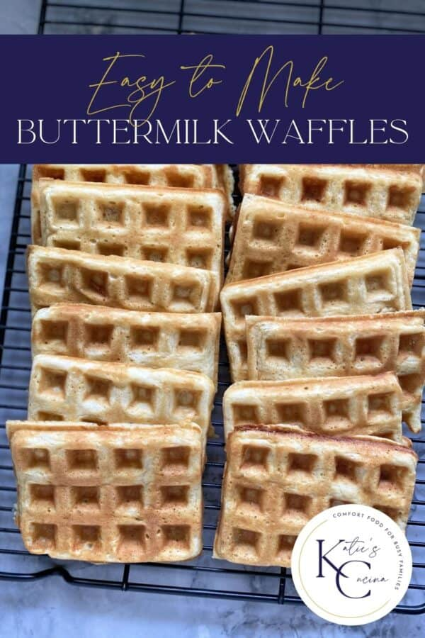 Top view of a wire rack filled with waffles with recipe name on image for Pinterest.