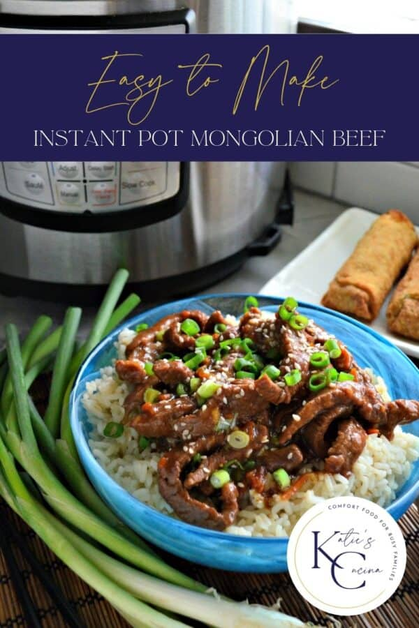 Blue bowl filled with white rice and beef with sesame seeds and green onions with text on image for Pinterest.