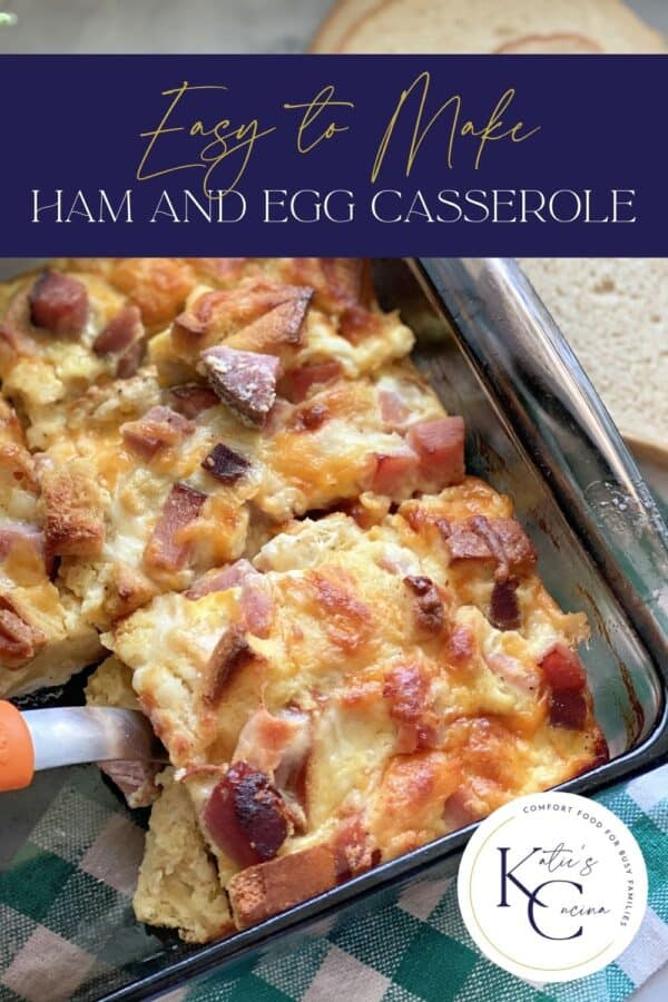 Top view of a slice of breakfast casserole being lifted out of a glass baking dish with text on image for Pinterest.