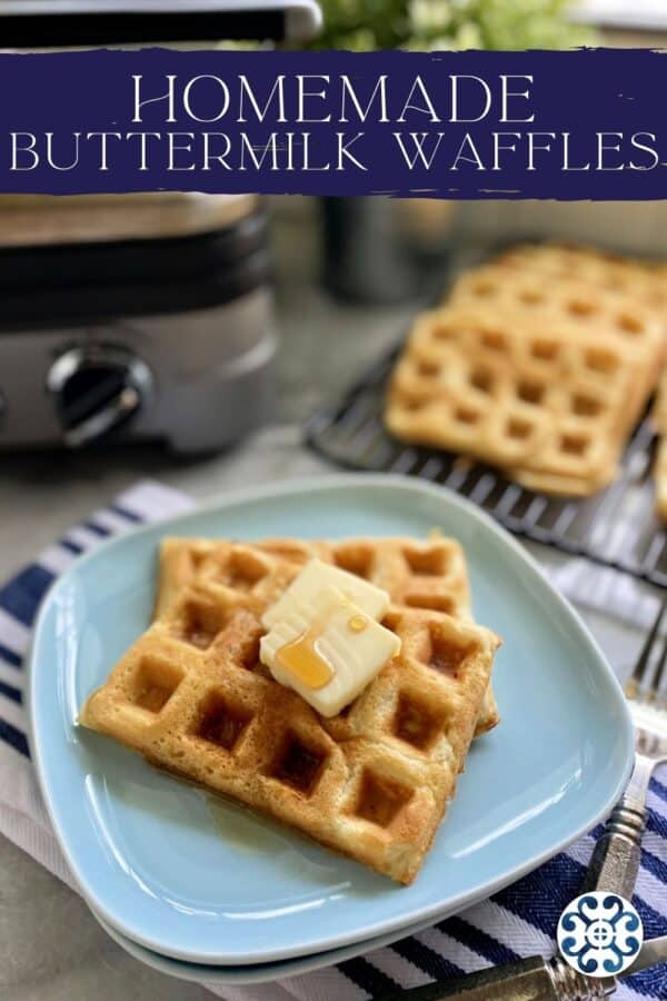Blue plate filled with two waffles with recipe name on image for Pinterest.