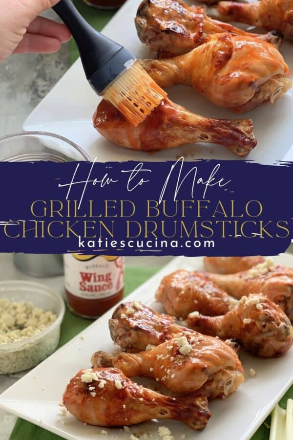 Two photos of chicken drumsticks split by text on image for Pinterest.