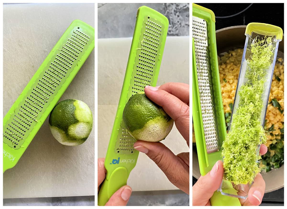 Three photos of a female hand zesting lime on a green zester.