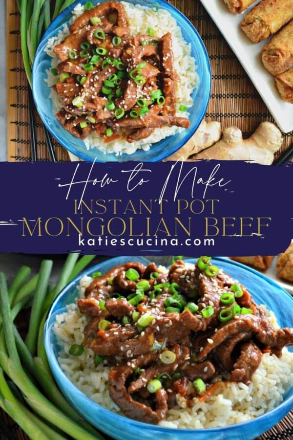 Two photos of mongolian beef over rice in a blue bowl split by text on image.