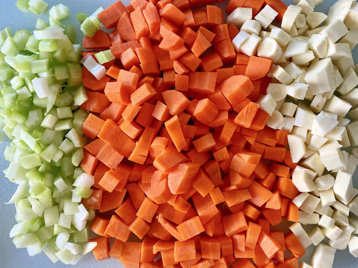 Diced green celery, chopped carrots, and parsnips.
