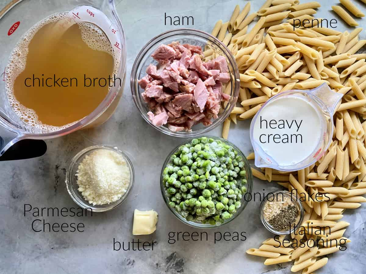 Ingredients: broth, cheese, butter, peas, ham, penne pasta, heavy cream, onion flakes, and Italian seasoning.