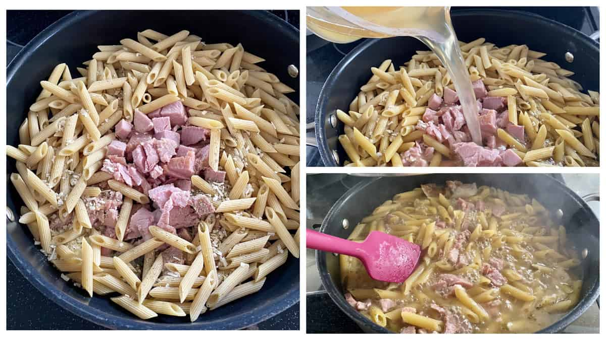 Threee photos of cooking process of penne, ham, and broth.