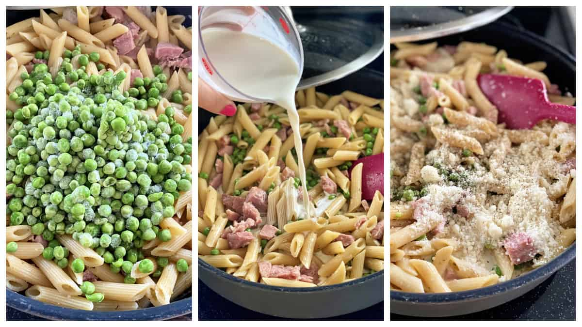 Three photos of skillet pasta with peas, pouring cream, and cheese.